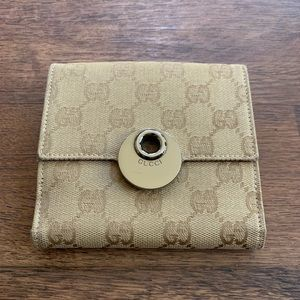 Gucci Monogram Tan Canvas & Pink Leather Wallet
